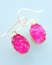 Pink Crystal Agate Gold Hand Made Earrings Bungalow Living