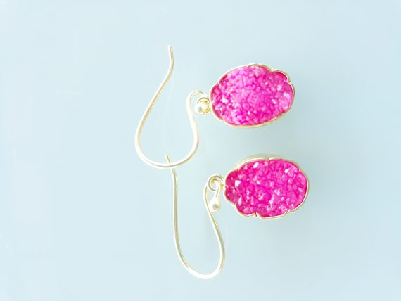 Pink Crystalised Agate Hand Made Gold Earrings Bungalow Living