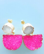Pink & White Sparkle Gold Hand Made Earrings