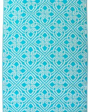 Aqua & White Gypsy Outdoor Mat