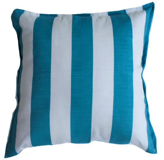 Aqua & White Stripe Outdoor Cushion