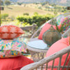 Bungalow Living Pink Date Palm Outdoor Cushion Made in Australia
