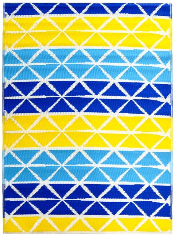 Beach Days Blue & Yellow Outdoor Mat