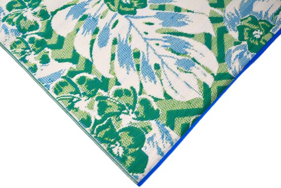 Blue & Green Tropical Outdoor Mat 1