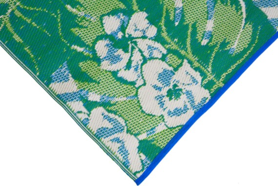 Blue & Green Tropical Outdoor Mat 5
