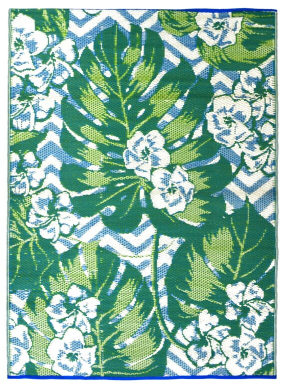 Blue & Green Tropical Outdoor Mat