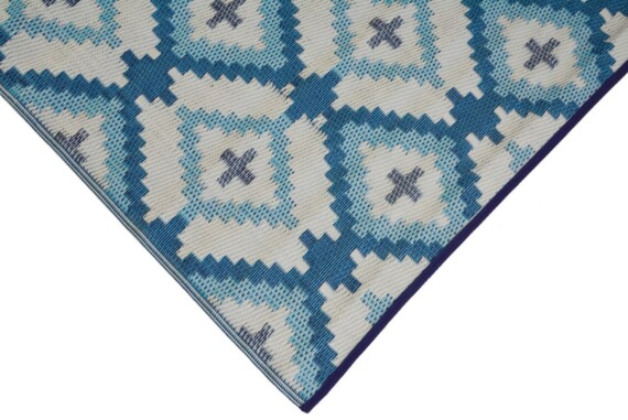 Blue & Grey Aztec Outdoor Mat 1