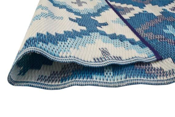 Blue & Grey Aztec Outdoor Mat 2