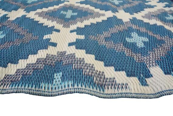 Blue & Grey Aztec Outdoor Mat 3