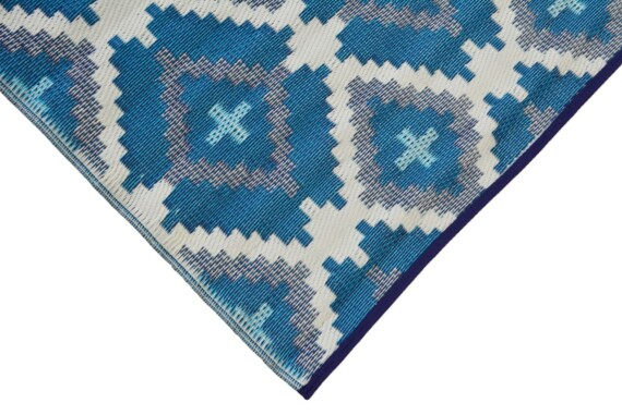Blue & Grey Aztec Outdoor Mat 4