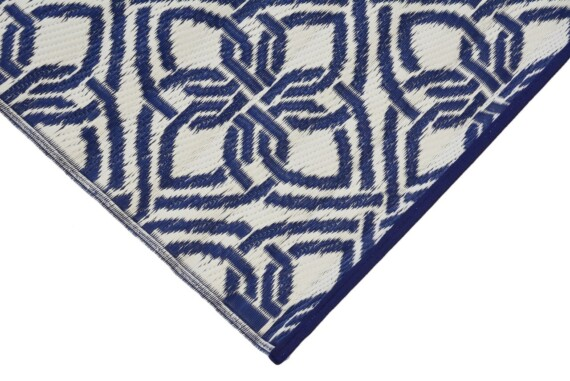 Blue & White Gypsy Outdoor Mat 1