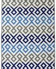 Grey & Blue Geometric Outdoor Mat