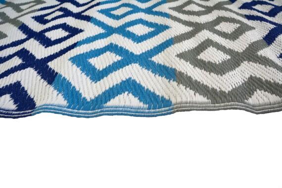 Grey & Blue Geometric Outdoor Mat 3