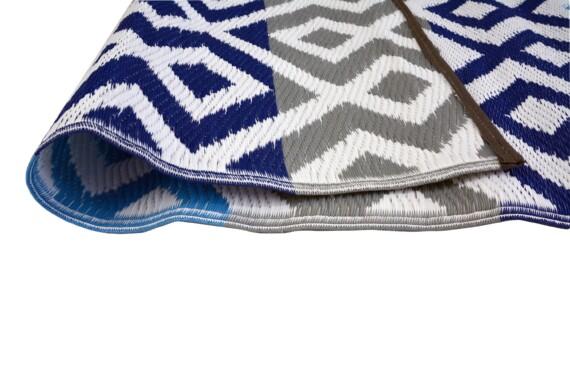 Grey & Blue Geometric Outdoor Mat 4