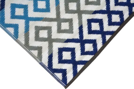Grey & Blue Geometric Outdoor Mat 5