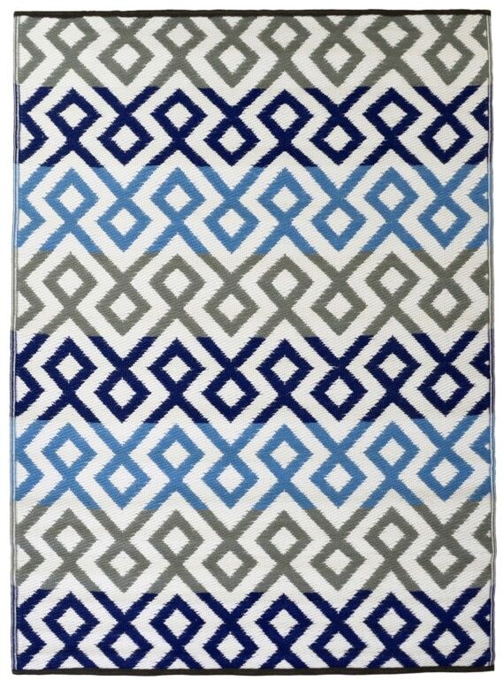 Grey & Blue Geometric Outdoor Mat