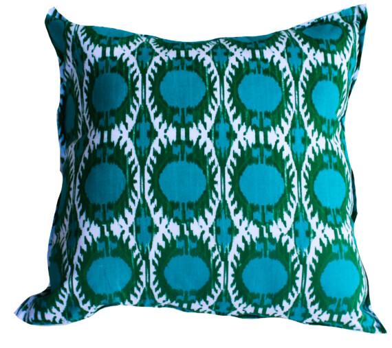 Peacock Ikat Indoor Cushion