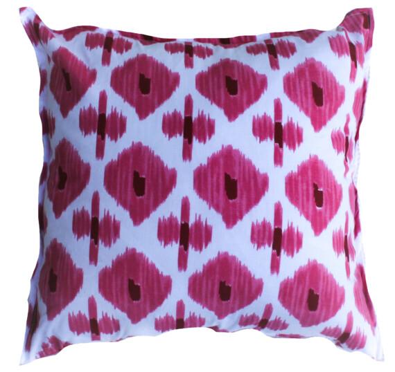Pink Ikat Hand Printed Indoor Cushion