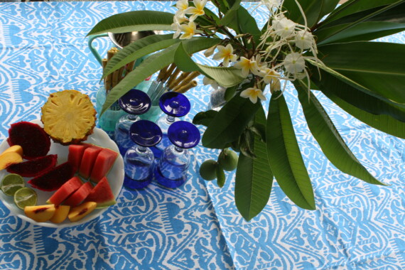 Blue & White Hand Printed Ikat Tablecloth