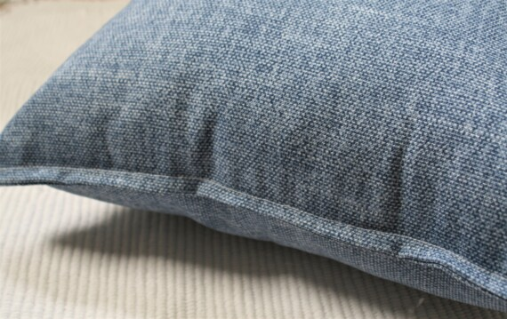 Faded Blue Denim Outdoor Cushion Close Up Bungalow Living
