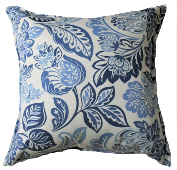 Blue & White Floral Outdoor Cushion Bungalow Living