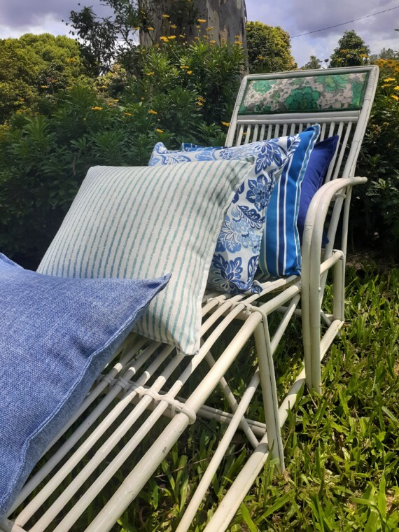 Blue and White Floral Outdoor Cushion Bungalow Living