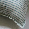 Tea Stained Aqua Striped Cushion Close Up 1