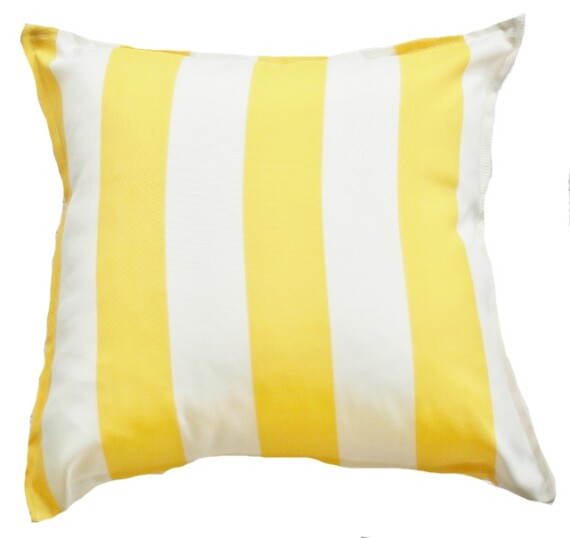 Yellow and White Stripe Outdoor Indoor Cushion Bungalow Living