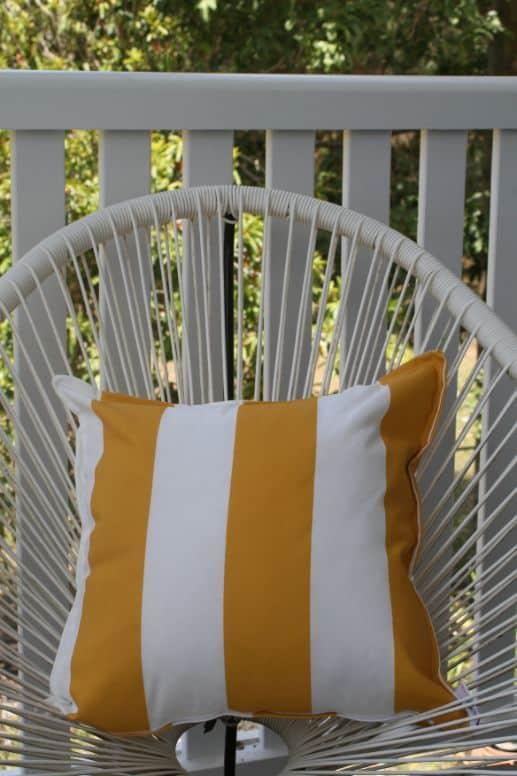 Mustard Yellow & White Stripe Outdoor Cushion Bungalow Living 1