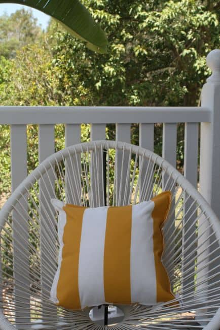 Mustard Yellow & White Stripe Outdoor Cushion Bungalow Living
