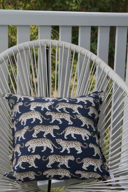 Blue Leopard Outdoor Indoor Cushion Bungalow Living 4