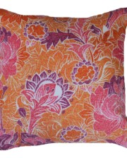 Orange & Pink Batik Floral 42 CM Bungalow Living Outdoor Cushion Australia 1