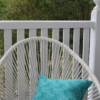 Green & White Dot Floral Outdoor Cushion Bungalow Living Australia