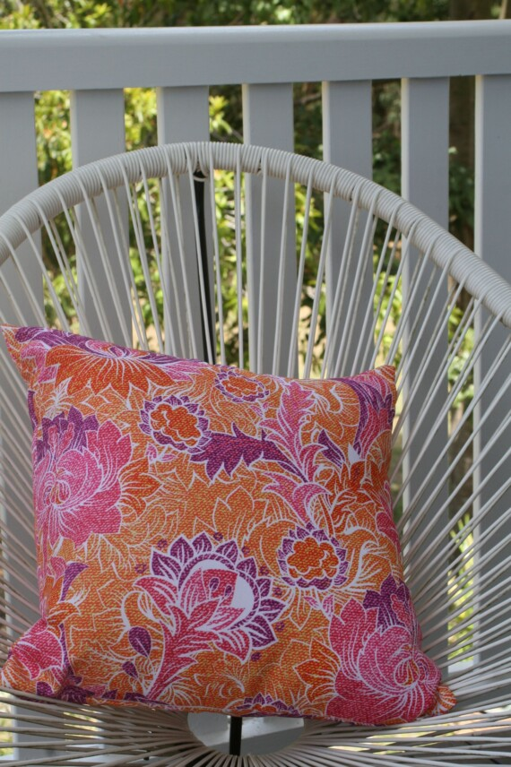 Orange & Pink Batik Floral 42 CM Bungalow Living Outdoor Cushion Australia 3