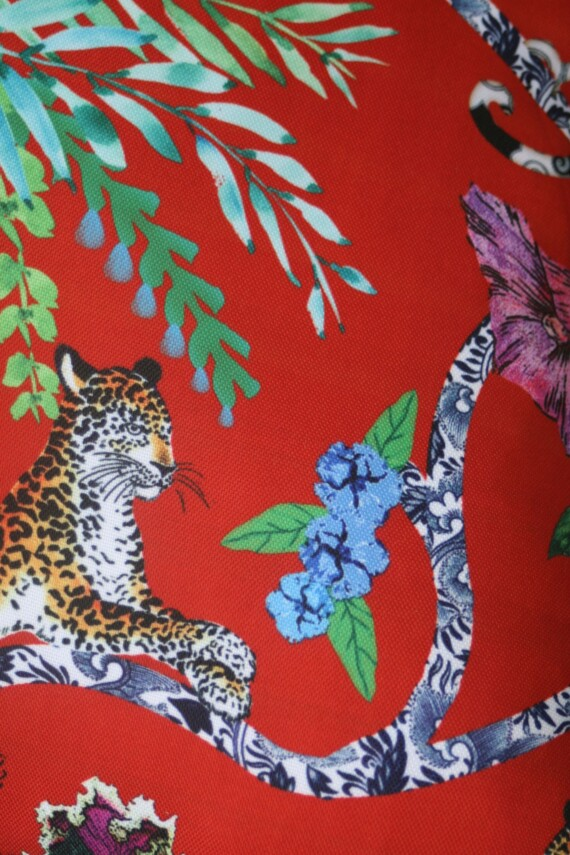 Red Chinoiserie Outdoor Cushion 42 CM Bungalow Living Australia